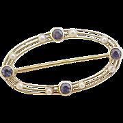 Edwardian Era Brooch / Pin Sapphire & Seed Pearl