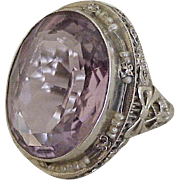 Victorian Revival Ring 14K White Gold Amethyst & Seed Pearl
