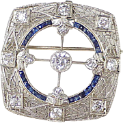 Edwardian Era Diamond & Sapphire Brooch / Pendant 3.04 CTW, 14K White Gold