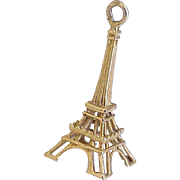 Vintage Travel Souvenir Charm Eiffel Tower, Paris France 18k Gold