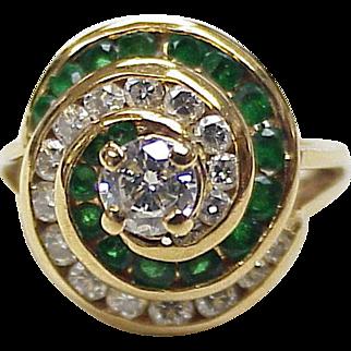 Diamond & Emerald Ring 18K Gold 2.19 Carats Gem Weight