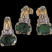 Natural Emerald & Diamond Earrings & Pendant Set 14k Gold