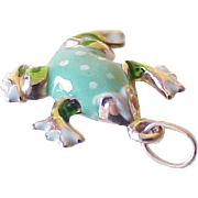 Vintage Enameled Frog Three Dimensional Charm, 14k Gold, Circa 1980's