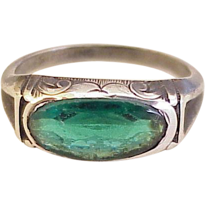 vintage faux emerald ring sterling silver circa 1920 30 s