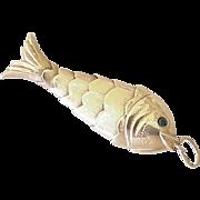 Big Vintage Articulated Fish Charm 14K Gold, Emerald Eyes