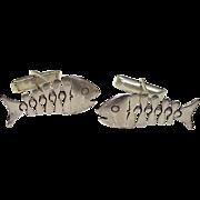 Skeletal Fish Vintage Cufflinks Sterling Silver, Mexico