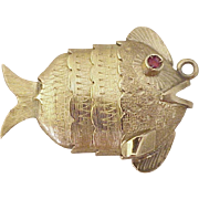 BIG Vintage Articulated Fat Fish Charm 18K Gold & Faux Ruby