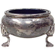 Sterling Silver Footed Open Salt Cellar With Cobalt Glass Liner