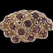Garnet Cluster Vintage Ring 14K Gold circa 1960's