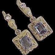 Vintage Gemstone Dangle Earrings circa 1950's 14K Gold Blue Topaz & Spinel 7.18 TGW