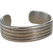 Native American Crafted Cuff Bracelet Sterling Silver & 14K Gold 1980's
