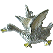 Goose Charm Sterling Silver Enamel Accent circa 1940's
