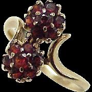 Victorian Revival Garnet Floral Cluster Ring 10K Rose Gold