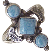 Navajo Crafted Ring Sterling Silver & Denim Lapis Lazuli circa 1970's