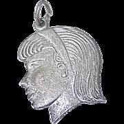 Vintage Sterling Silver Charm ~ GIRL, Head Profile circa 1960's