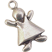 Vintage Little Girl Charm Sterling Silver circa 1980's