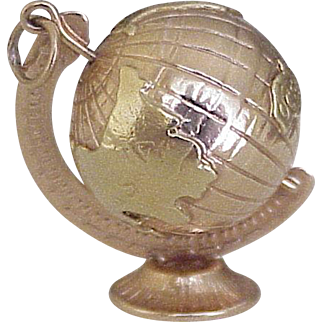 BIG Vintage Spinning / Moving GLOBE on Stand 18K Gold