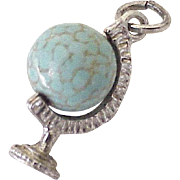 Vintage Moving Globe Charm Sterling Silver & Czech Glass Bead