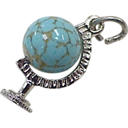 Vintage Moving Sterling Silver Charm  ~ Globe with Czech Glass Bead