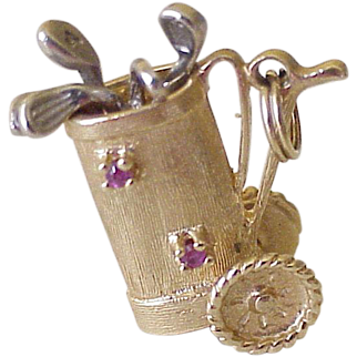 Jeweled Moving Vintage Golf Charm 14K Gold Circa 1950's
