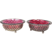 Gorham Master Salt Cellars Sterling Silver Red Glass Inserts