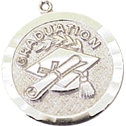 Vintage Graduation Charm Sterling Silver