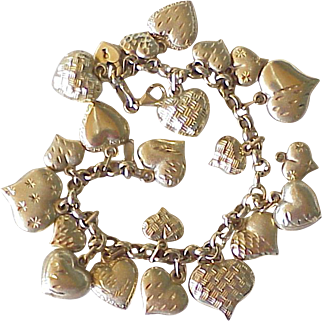 Vintage Puffy Heart Charm Bracelet 14K Gold, 22 Charms