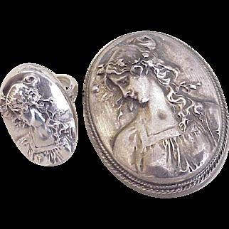 Henryk Winograd Primavera Ring & Pendant/Brooch Set 999 Fine Silver