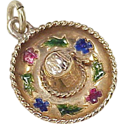 Vintage Mexican Sombrero Hat Charm 14K Gold Colorful Enamel Accent circa 1970s