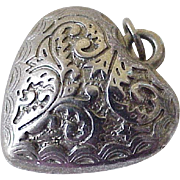 Vintage Ornate Puffed Heart Charm Sterling Silver Three Dimensional Circa 1950's