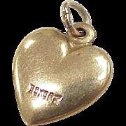Vintage Solid 10K Gold Heart  Charm, Three Dimensional circa 1960's