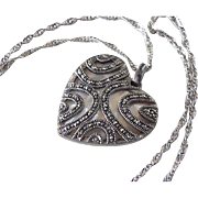 Gorgeous Reversible Heart Pendant / Necklace Sterling Silver Marcasite & Mother of Pearl