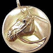 Victorian Horse Charm Equestrian 10K Rose Gold & Diamond