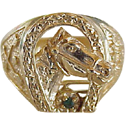 Equestrian Ring Horse, Horseshoe 14K Gold Emerald Accent
