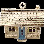 Vintage Moving Charm House / Home 14K Gold Enameled circa 1950'd