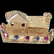 Vintage Jeweled HOUSE Charm 14K Gold Three Dimensional circa 1970