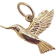 Hummingbird Charm 14K Gold Three Dimensional Circa 1970's