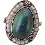 Malachite & Glass Bead Ring Sterling Silver, Israel circa 1960's