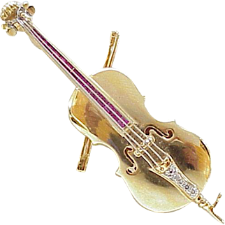 Amazing Jeweled Cello Brooch 14K Gold Ruby & Diamond