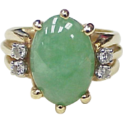 Vintage Jade & Diamond Ring 14k Gold circa 1980's