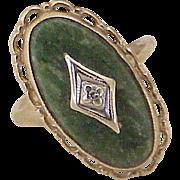 Vintage Jade & Diamond Ring 10K Gold circa 1970's