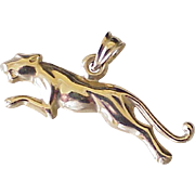 Estate Jaguar Jungle Cat Charm 14K Gold Three Dimensional
