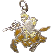 Jousting Knight on Horse Vintage Charm Enameled Sterling Silver Circa 1970's