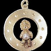 Big Vintage Charm JUNE Birthstone / Birthday 14K Gold & Cultured Pearl