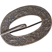 Victorian Kilt Pin Buckle Brooch Sterling Silver Floral Repousse
