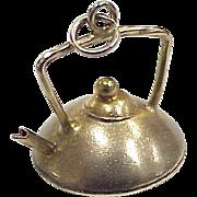 Vintage Kitchen Tea Kettle Charm 9k Gold European Three Dimensional Circa 1950's