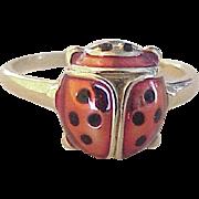 Vintage Ladybug Enameled Ring 14K Gold