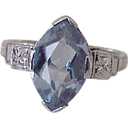 Blue Zircon Solitaire Ring 3.0 Carat 14K White Gold Circa 1950's