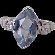 Blue Zircon Solitaire Ring 3.0 Carat 14K White Gold Circa 1950's