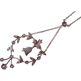 Victorian Lavaliere Necklace 14K Rose Gold & Seed Pearls Forget-Me-Not & Bell Design